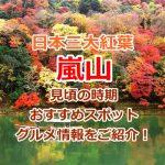 嵐山の紅葉の時期は?おすすめ観光スポット11選!日本三大紅葉の景色を見に行こう!
