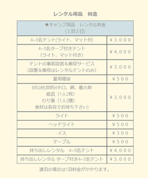 レンタル用品の料金